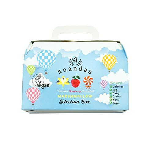 Anandas Vegane & Vegetarische Marshmallows Geschenkbox - Karamell, Vanille & Himbeere 3 x 80g