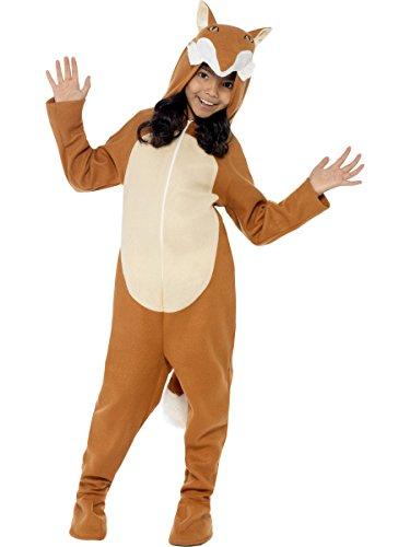 Smiffys Kinder Unisex Fuchs Kostüm, All-in-One mit Kapuze und Schwanz, Größe: S, 44074