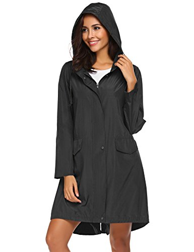 Unibelle Damen Regenmantel Regenjacke Regenbekleidung Mit Kapuze Wasserdicht Windbreaker Wetterfest Jacke Navy Blau XXL