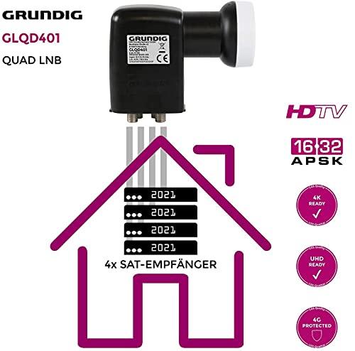 GRUNDIG Quad LNB-Digital, 4 Teilnehmer mit LTE-Filter, Quad Switch LNB, digital mit Wetterschutz, Full HD, 4K LNB Quad - digitaler 4fach-LNB für Satellit-Fernsehen