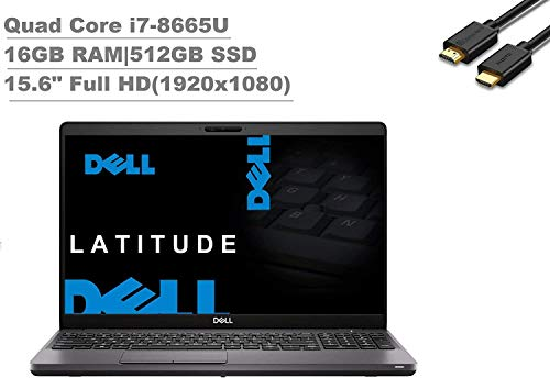 2020 Dell Latitude 5000 5500 15.6' FHD (1920x1080) Business Laptop (Intel Quad-Core i7-8665U, 16GB DDR4, 512GB PCIe SSD) Backlit, Fingeprint, Type-C, HDMI, Webcam, Windows 10 Pro + IST HDMI Cable
