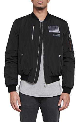 Bomberjacke Herren Tempelheim schwarz militär | Übergangsjacke Premium Streetwear (S, schwarz)