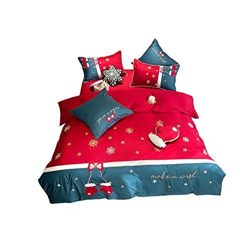 NAFE - Juego de sábanas y fundas de almohada bordadas, 4 piezas de estilo navideño de algodón, doble, matrimonial/Queen Twin