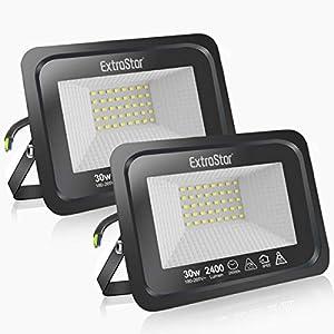 Focos LED exterior 30 Extrastar Potente Luces Led Exterior IP65, Luz de Seguridad Blanca frio 6500K para Terraza, Jardín, Patio, Parque, Garaje [Clase de eficiencia energética A+]2 paquetes