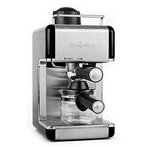 oneConcept Sagrada Nera cafetera espresso de acero inoxidable (800 W, 3,5 bar, acero inoxidable, para 4 tazas, desmontable,...