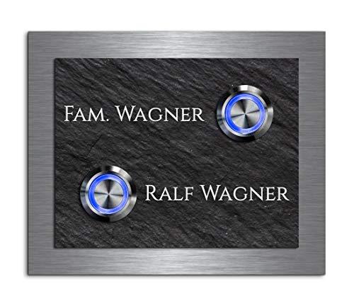 Edle 2 Fach/Mehrfamilien Türklingel mit Gravur und 2 LED-Klingelknöpfen über 100 Motive personalisierbar 13x11 cm | Modell: Wagner-e | gravierte Klingel aus Schiefer und Edelstahl Klingelschild