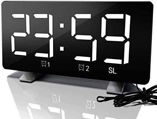 HJTLK Digitaler Wecker Dimmbarer LED-gebogener Bildschirm Digitaler Uhr, Doppelalarm, 12 / 24H, ultraklare große Nummer, Wecker mit Snooze FM