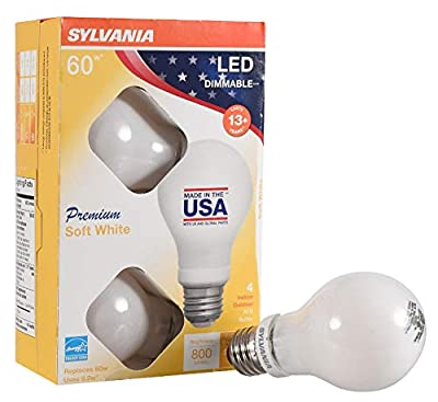 SYLVANIA General Lighting Sylvania 60 Watt Equivalent, A19 LED Light Bulbs, Dimmable, Energy Star Rated, Soft White Color Made in The USA with US and Global Parts