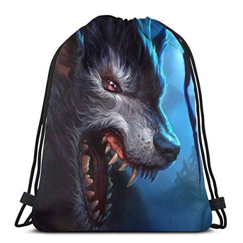 AEMAPE Wild-Wolf-Moon Unisex Drawstring Bag Gym Dance Backpack 36x43 cm