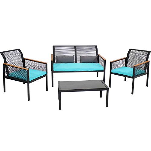 Sunnydaze Coachford 4-Piece Outdoor Patio Conversation Furniture Set - Black Rattan Loveseat, Chairs and Coffee Table with Thick Cushions - Outside Wicker Seating - Blue Cushions