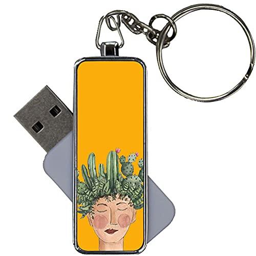 Hecho por Metal Diseño Cactus para Mujeres Original Compatible con 8Gb USB Flash
