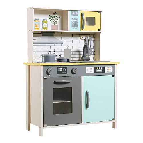 Teamson 85383 Cucina Giocattoli in Legno con Accessori e Utensili per Bambini a Partire dai 3 Anni Luci e Suoni, Blu
