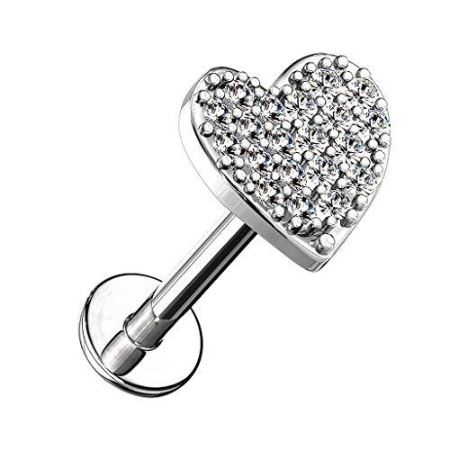 Piersando Barbell Piercing 316L Chirurgenstahl mit Kristall Herz für Lippe Labret Ohr Tragus Helix Ohrpiercing Lippenpiercing Silber 6mm
