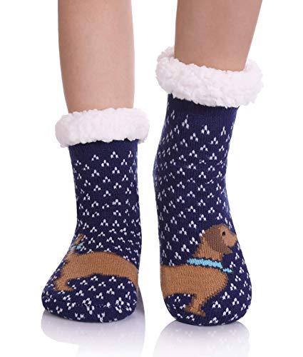 HERHOREBO Warme Hausschuhe für Jungen und Mädchen, Cartoon-Tiersocken, kuschelig, weich, dick, für den Winter, Weihnachten, Geschenkidee Gr. 8-12 Jahre, Asymmetrie Hund