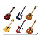 N\A Alfombrillas de ratón Amarillo clásico Negro eléctrico de Guitarras Equipo acústico Blanco Alfombrilla de ratón para portátiles, Alfombrillas de Escritorio Material de Oficina