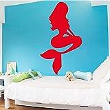 jiuyaomai Charmante Sirène Stickers Muraux Salon Decer Vinyle Étanche Amovible Wallpapr Jolie Auto Mur Art Accessoires 78x133 cm
