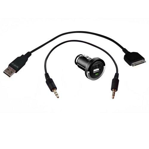3-KFZ - Juego de accesorios para iPhone & Co: adaptador | Extra corto USB-Dock-Connector-cable | Extra corto audio-cable.