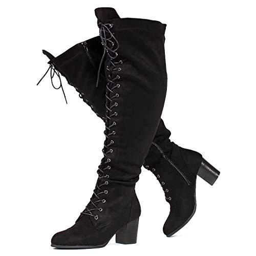 RF ROOM OF FASHION Women's Wide Calf Block Heel Lace Up Over The Knee Riding Boots Black SU Size.11