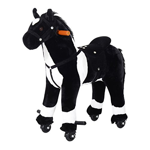 "Qaba Kids Plush Ride On Toy Walking Horse with Wheels and Realistic Sounds, 30""H, Black"