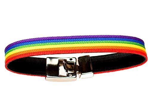 Quickboxx Pulsera Orgullo Gay Lesbiana LGTB Pride de Cuero con Colores del Arco Iris Cómoda y Estilosa Combina con Todo