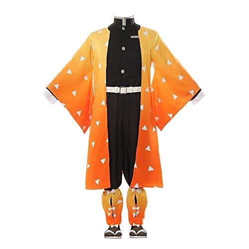 Demon Slayer Kamado Nezuko Tanjirou Agatsuma Zenitsu Tomioka Giyuu Japanese Anime Costume Halloween Outfit Yellow
