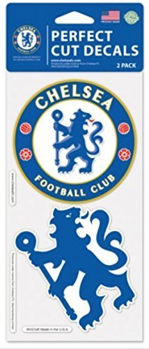 "OFFICIAL CHELSEA FC PERFECT CUT DECAL SET OF TWO 4"" X 4"""