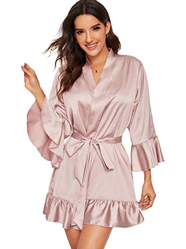 Floerns Women's Casual Ruffle Hem Belted Satin Lingerie Robe Pink M