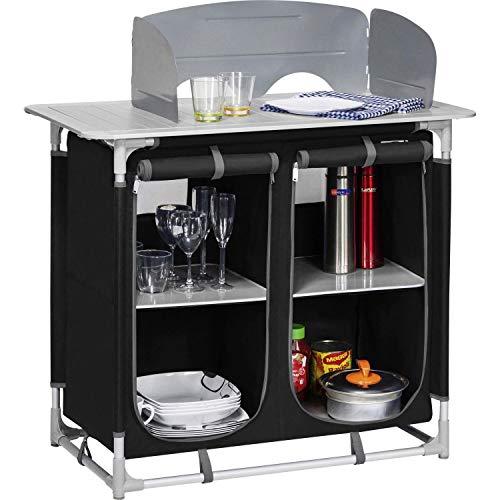 BERGER Küchenbox Camping Sideboard, Alugestell, schwarz/grau, inkl. Windschutz und Tragetasche, Aufbau-Schrank