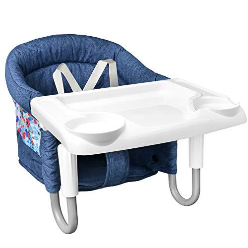 Mosbaby Babysitz Tischsitz mit Tablett, Faltbarer Babystuhl für Esstisch, Rutschfester Babysitz zum Befestigen am Tisch, Gepolsterter Tischstuhl für zu Hause und Unterwegs, mit Transportbeutel