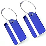 Set of 2 Aluminum Metal Travel Suitcase Luggage Tags Labels Bag ID Name Address Tag Label with Screw Chain, Blue