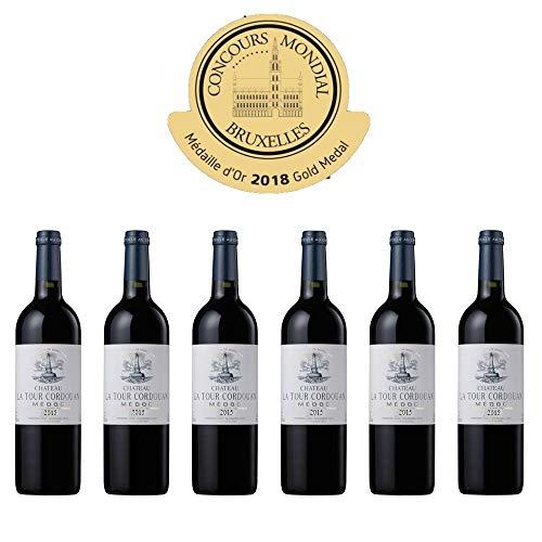 CHÂTEAU LA TOUR CORDOUAN 2015 - 6 BOUTEILLES - Grand Vin Rouge de Bordeaux Médoc - Cru Bourgeois en 1932 - AOC Médoc - Médaille d'Or au Concours Monsial de Bruxelles