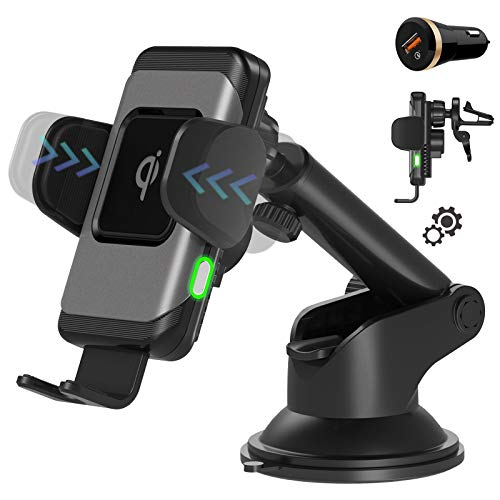 Wefunix 15W Fast Wireless Charger Auto Automatisch Handyhalterung Motor Betrieb Qi Ladestation KFZ für LG V50 iPhone 12 11 Pro XS Max XR SE Samsung Galaxy S20 S10 S9 Note 20/10/9 Huawei P30 Pro Mi 10