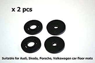 Carmats Fixation Clips Round Type 2 pcs Set fit Audi Volkswagen Porsche Seat Skoda Models Floor Mat Fasteners Holders Fitting Clips for Rubber Carpeted Carmats