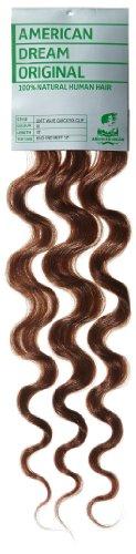 American Dream - A4/QFC12/18/30 - 100 % Cheveux Naturels - Douce Ondultation - Pièce Unique Extensions à Clipper - Couleur 30 - Topaze - 46 cm