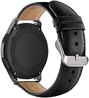 Pulseira de Couro para Samsung Galaxy Watch Active 40mm - Gear S2 Classic - Gear Sport R600 - Galaxy Watch 42mm - Amazfit Bip - Marca Ltimports (Preto)