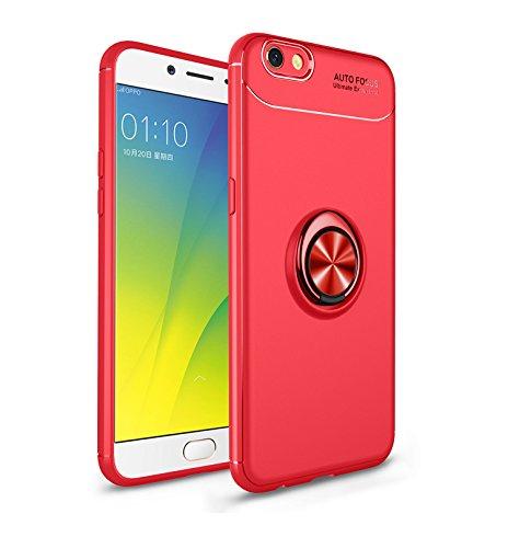 Jardire Kompatibel Oppo F3 Plus Hülle Rot, hergeben (2 Stück) 3D HD Panzerglas Schutzfolie, ständer für Handy Smartphone, Ultraleichte TPU-Autohalterung mit unsichtbarem Magnetring
