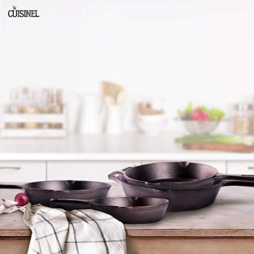 Pre-Seasoned Cast Iron Skillet 4-Piece Chef Set (6-Inch 8-Inch 10-Inch 12-Inch) Oven Safe Cookware - 4 Heat-Resistant Holders - Indoor and Outdoor Use - Grill, Stovetop, Induction Safe