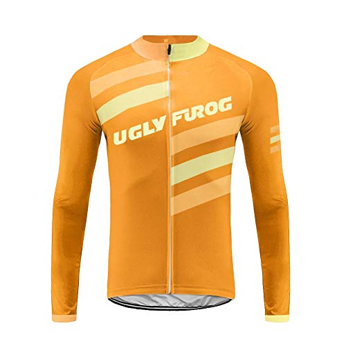 Uglyfrog Maillot Ciclismo Invierno Hombre Bicicleta Conjunto de Jersey de Manga Corta/Larga Top y Culotte Pantalones Acolchado 20D Térmico Respirable FAXLZR06