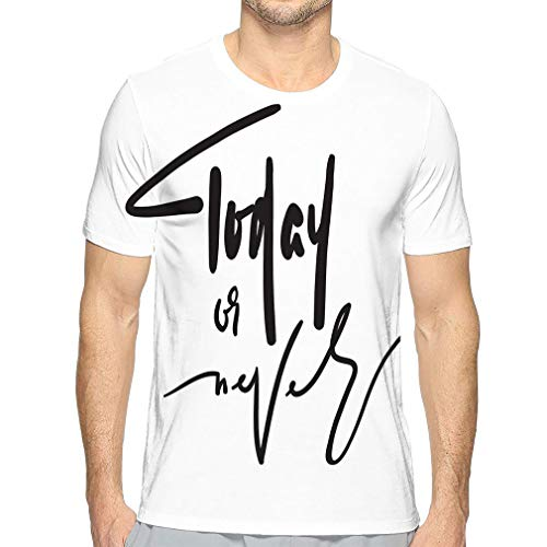 hyjhytj Men's Premium Short Sleeve Logo Tshirt Today Never Inspire Motivational Quote Hand Drawn Beautiful Lettering Print Inspirational Poster Today Never