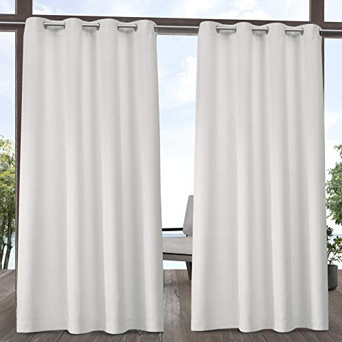 Exclusive Home Curtains Indoor/Outdoor Solid Cabana Grommet Top Curtain Panel Pair, 54x108, Vanilla