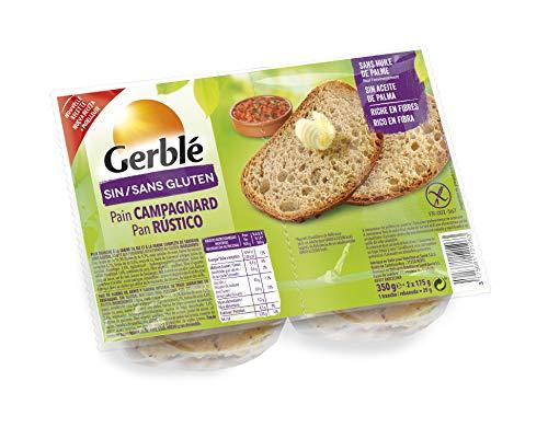 Gerblé Pain Campagnard Sans Gluten & Sans Lactose, Riche en fibres, Moelleux, 12 Tranches, 350g (2x175g), 199517