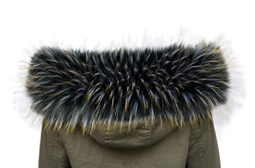 Chic Vibe Cappuccio Assetto Di Ecopelliccia Donna Collare collo di pelliccia ecologica (75cm, Nero con punte dorate)