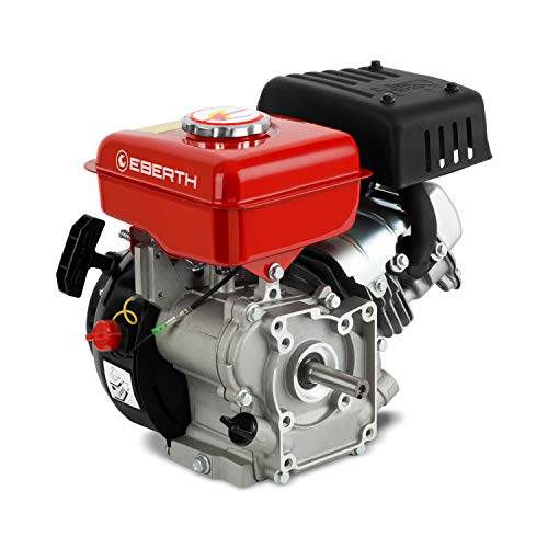 EBERTH 3 CV 2,2 kW moteur à essence (16,00mm Ø arbre avec filetage extérieur, 1 cylindre, 87 cc de capacité cubique, 4 temps, refroidi à l'air, rouge)