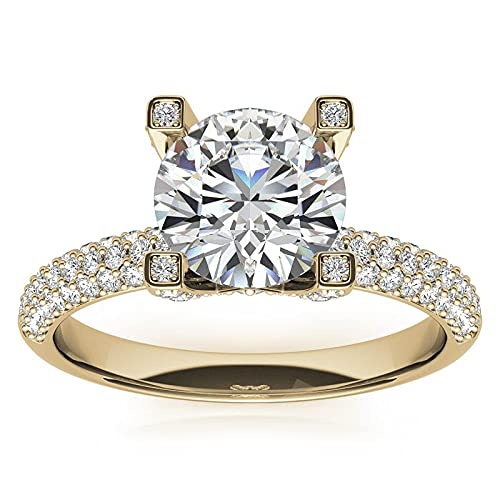 Customize Jewels Anillo de compromiso de moissanita de 3,00 quilates, 9,5 mm, con diamante cultivado en laboratorio, oro amarillo de 14 quilates, D-VVS1 7