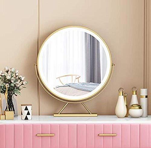 Espejo de maquillaje Dpliu con luz LED para escritorio, espejo redondo inteligente, espejo dorado de 50 cm, espejo alto giratorio enchufado en brillo y soporte para maquillaje tricolor Cosmeticwith -