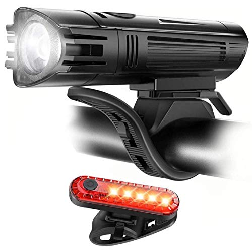 YQG Faro Delantero de Bicicleta Juego de Luces Recargables USB para Bicicleta Juego de Luces de Bicicleta súper Brillante Luz Trasera Impermeable para Faros Delanteros Se Adapta a Todas Las Bici