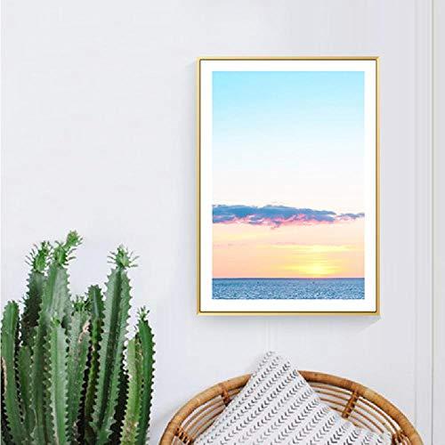 Strand Zee Canvas Schilderij Blauwe Hemel Badpak Meisje Posters Foto's voor Thuis Muur Woonkamer Decoratie 80x100cm