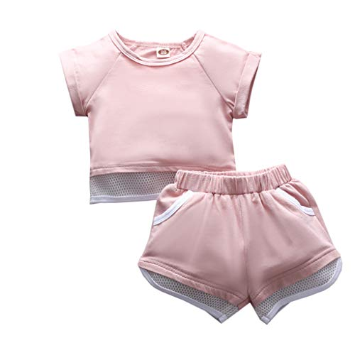 Cuteelf Mädchen Kurzarm Volltonfarbe Top Shorts Sportbekleidung Zweiteiler Kleinkind Kinder Baby Mädchen Kleidung Solid Tops + Shorts Sport Outdoor Outfits Set