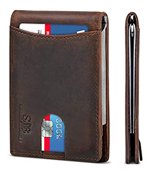 SERMAN BRANDS RFID Blocking Slim Bifold Genuine Leather Minimalist Front Pocket Wallets for Men with Money Clip Thin Mens  Texas Brown 1.0