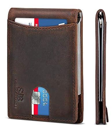 2abe8709e Serman Brands Brown Bi-fold Leather Front Pocket Wallet